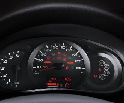 Panel que avisa el momento de cambio de aceite y de velocidad